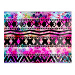 Black Aztec Pattern Neon Floral Nebula Post Cards