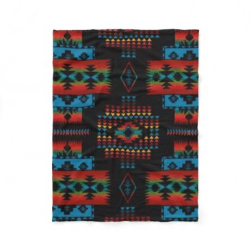 Aztec Themed BLACK Aztec Print Fleece Blanket