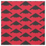 Black B-2 Spirit Stealth Bomber Pattern on Red Fabric