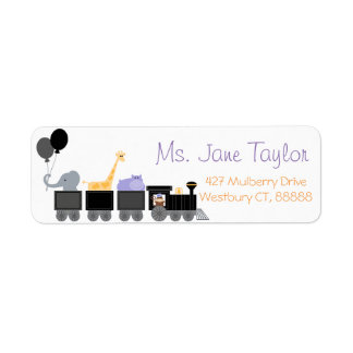 Black Baby Animals On A Train Baby Shower Label