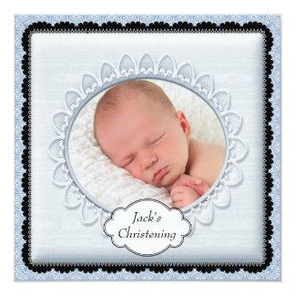 "Black Baby Blue Boys Photo Christening Invitations 5.25"" Square Invitation Card"