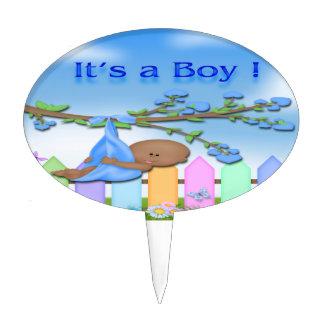 Black Baby Boy - Backyard Baby Shower Cake Topper