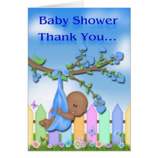 black baby boy backyard baby shower thank you card