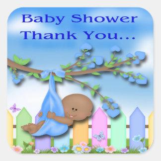 Black Baby Boy - Backyard Thank You Envelope Seal Stickers