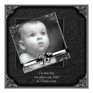 "Black Baby Boy Photo Christening 5.25"" Square Invitation Card"