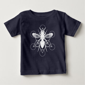 Black baby clothes with Bee and Sacred Geometry Baby T-Shirt