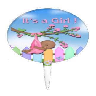 Black Baby Girl - Backyard Baby Shower Cake Topper