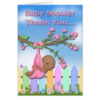 Black Baby Girl - Backyard Baby Shower Thank You Greeting Card