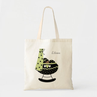 Black Baby in a Crib Tote Bag