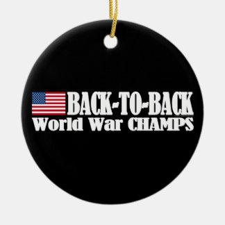 Black Back-To-Back USA Champs Ceramic Ornament