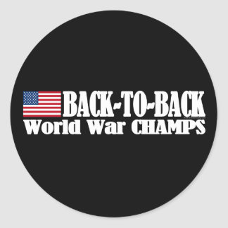 Black Back-To-Back USA Champs Classic Round Sticker