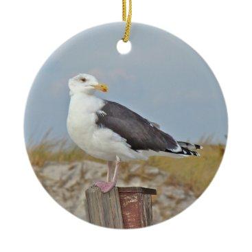 Beach Themed Black Backed Gull Shore Bird Christmas Ornament