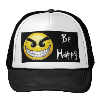 black-background, evil-smiley-face, Be Happy Trucker Hat