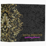 Black Background Glitter & Gold Floral Lace 2 Vinyl Binder
