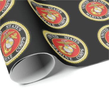 Black Background Official Seal - US Marine Corps Wrapping Paper