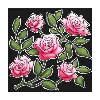 Black Background Pink Rose Floral Canvas Print