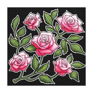 Black Background Pink Rose Floral Canvas Print