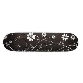 Black Background White Flowers Skate Board Decks