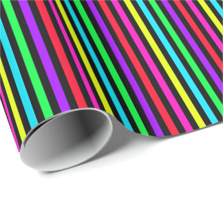 black background with colorful stripes wrapping paper
