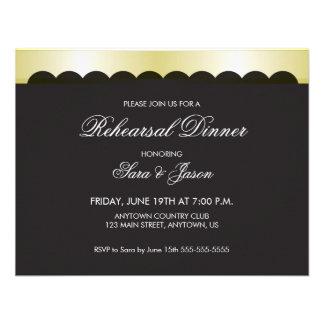 Black Background with Gold Ribbon Rehearsal Dinner Custom Invites