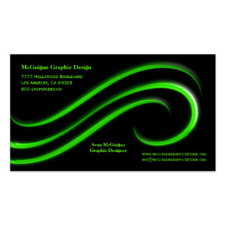 Black Background With Lime Green Bevel Swirls Business Card Template