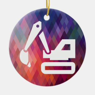 Black Backhoes Minimal Double-Sided Ceramic Round Christmas Ornament