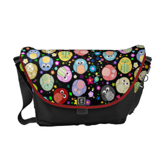 Black bag with cute owls and flowers