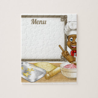Black Baker or Pastry Chef Menu Sign Jigsaw Puzzle