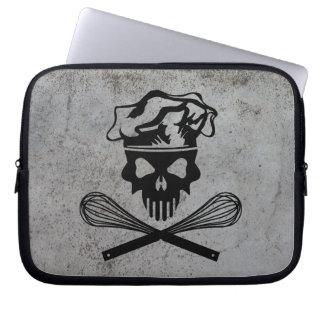 Black Baking Skull and Crossed Whisks Computer Sleeve