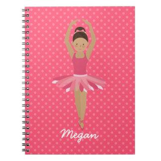 Black Ballerina on Pink Polka Dots Notebook