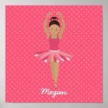 Black Ballerina on Pink Polka Dots Poster