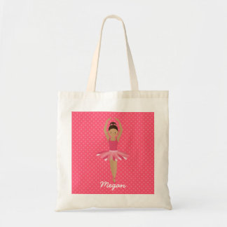 Black Ballerina on Pink Polka Dots Tote Bag