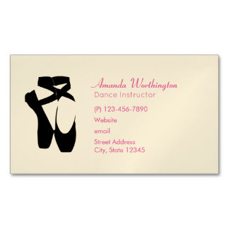 Black Ballet Shoes En Pointe Magnetic Business Card
