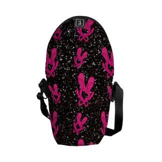 Black ballet slippers glitter pattern messenger bag