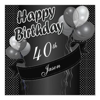 Black Balloon 40th Birthday Card