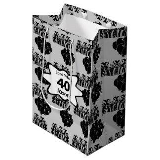 Black Balloon Birthday | Personalize Medium Gift Bag