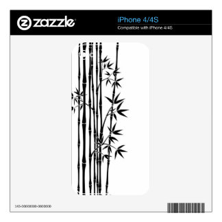 Black Bamboo Sticks with Leaves on White Decal For The iPhone 4S