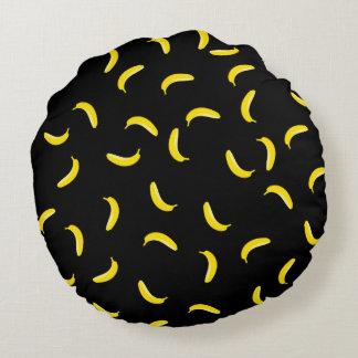 Black Banana Round Pillow