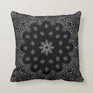 Black Bandana Throw Pillow
