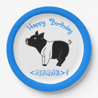 Black Banded Pig Happy Birthday Paper Plates