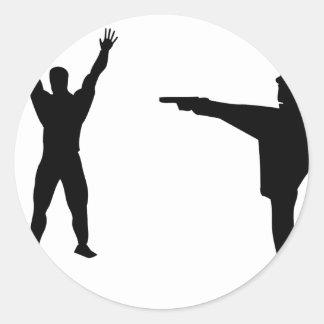 black bandit and policeman icon classic round sticker