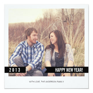 """Black Banner Happy New Year Photo Flat Cards 5.25"""" Square Invitation Card"""