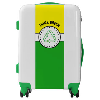Black Banner & Rectangles - green + your ideas Luggage