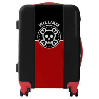 Black Banner & Rectangles - red + your ideas Luggage