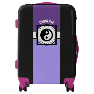 Black Banner & Rectangles - violet + your ideas Luggage