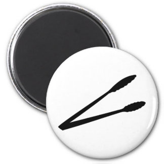black barbecue tongs icon magnet