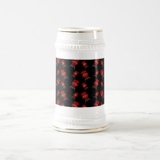 Black barbeque pattern 18 oz beer stein