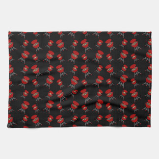 Black barbeque pattern hand towel