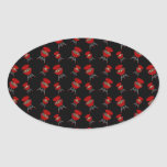 Black barbeque pattern oval stickers