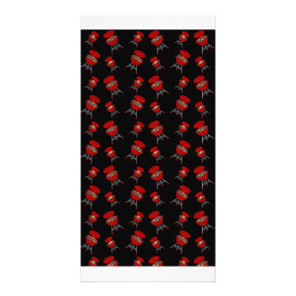 Black barbeque pattern personalized photo card